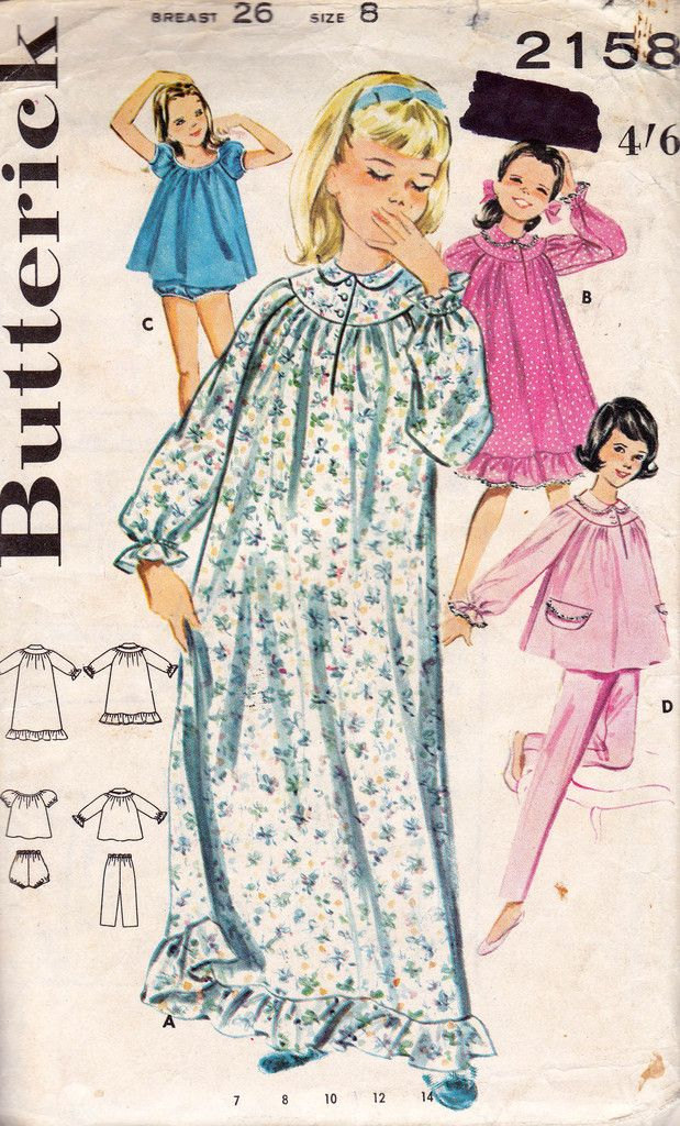 Butterick 2158 Girls Granny Gown Pajamas Babydoll Set 60s Vintage ...
