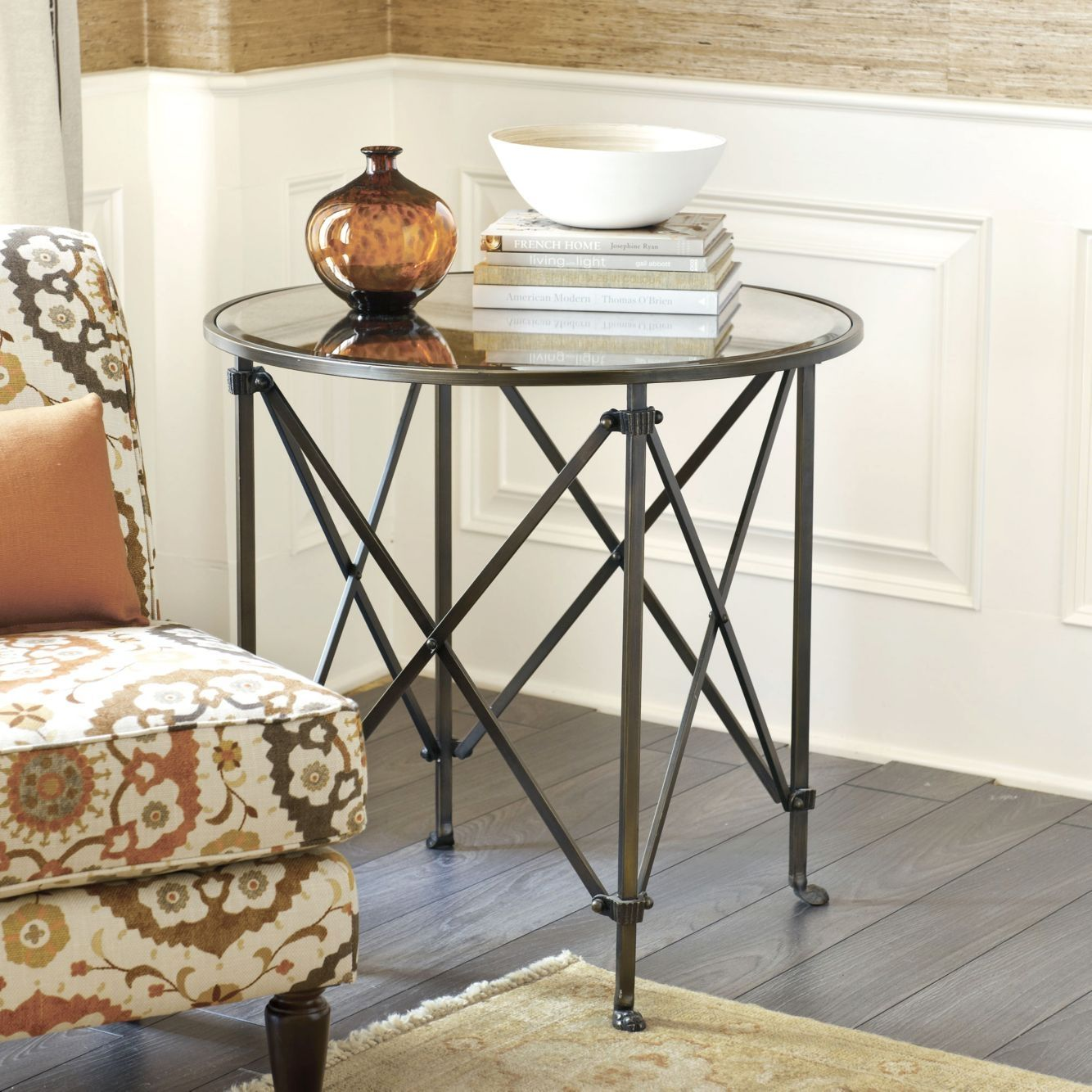 Olivia 30 Inch Round Mirrored Side Table