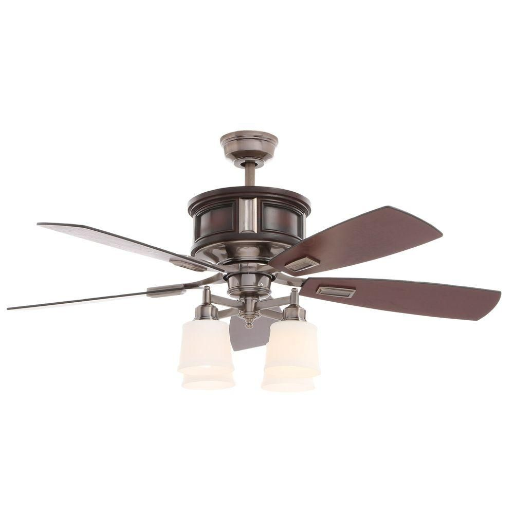 Hampton Bay Garrison 52 in. Indoor Gunmetal Ceiling Fan with Light ...