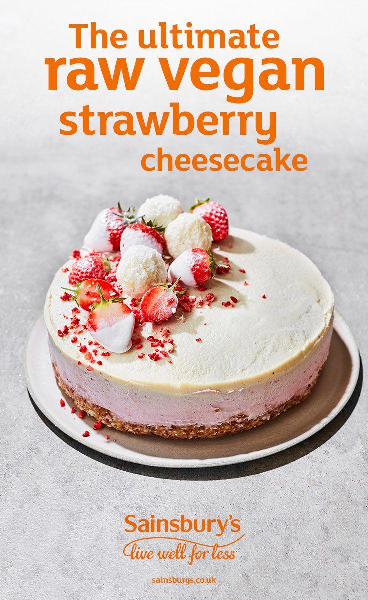 Recipe The Ultimate Raw Vegan Strawberry Cheesecake Sainsbury S Recipe Raw Cheesecake Desserts Vegan Cheesecake Recipe