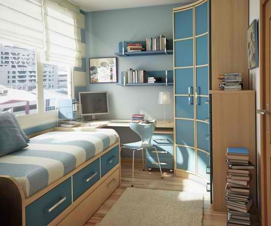 Tiener kamer. - Teen room. #tiener #teen #kamer #room #blauw #blue #slaapbank #bed #sofa #bureau #workspace #kast #closet #boeken #books #computer #stoel #chair #StudioInterio #SI