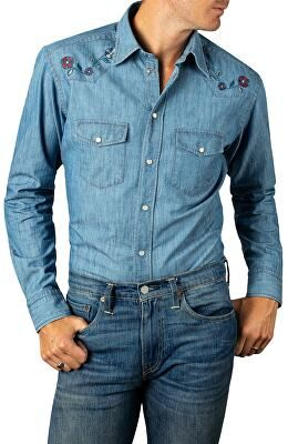 91a6f58ff6 ETON Designer Slim Fit Embroidered Denim Shirt
