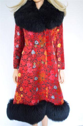 Vtg 60s Chenille Carpet Flower Tapestry Shearling Trimmed Hippie Boho Coat S M Boho Coat 1960s Mod Fashion Vintage Outfits