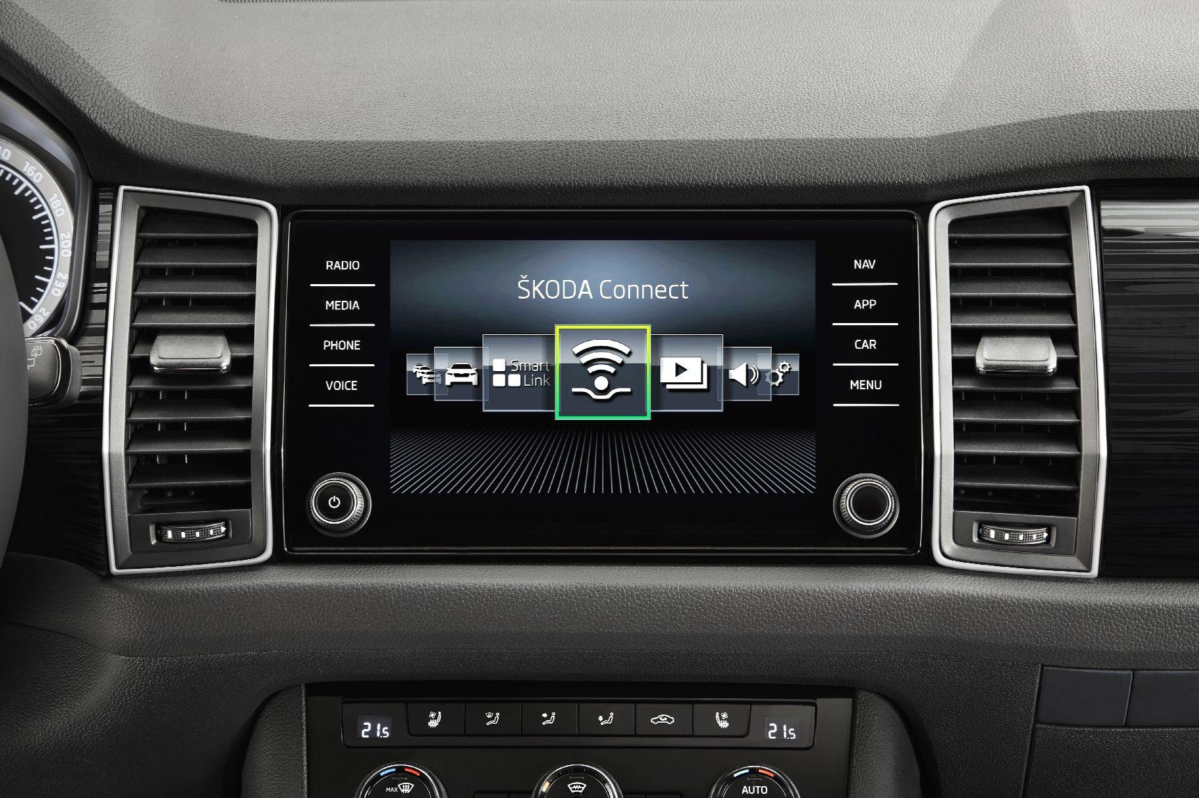Dit is het interieur van de Skoda Kodiaq SUV Dashboard