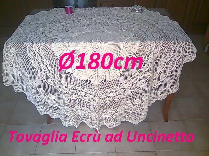 Copritavolo Uncinetto ~ Copritavola ad uncinetto rotonda Ø180cm puro cotone 100% brico