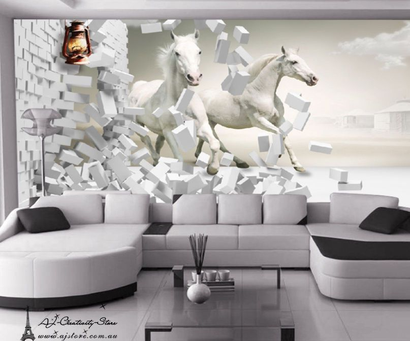 3d Noble White Horse Wall Paper Wall Print Decal Wall Deco Indoor Wall Mural Au Home Garden Home Wall Deco Red Living Room Decor Living Room Paint Design