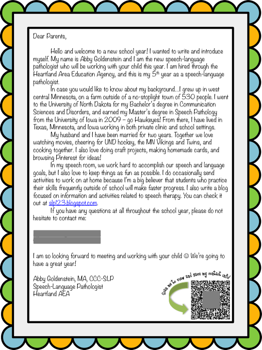 Schoolhouse Talk Back To School Week Slp Introduction Letter