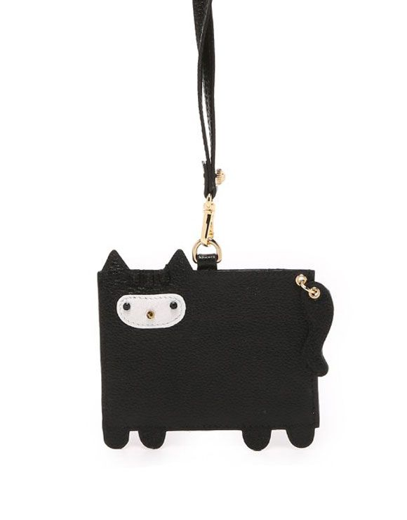 """This pebbled leather Patricia Chang lanyard Has a translucent ID window on one side Premium quality genuine cow leather. Soft and durable playful cat appliqué on the other. Detachable neck strap. Weight: 2oz / 0.06kg Dimensions: L 4.75""""…"""