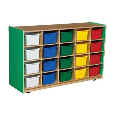 Wood Designs Twenty Tray Storage Unit 20 Compartment Cubby Bin Color: Assorted Tray, Color: Green Apple