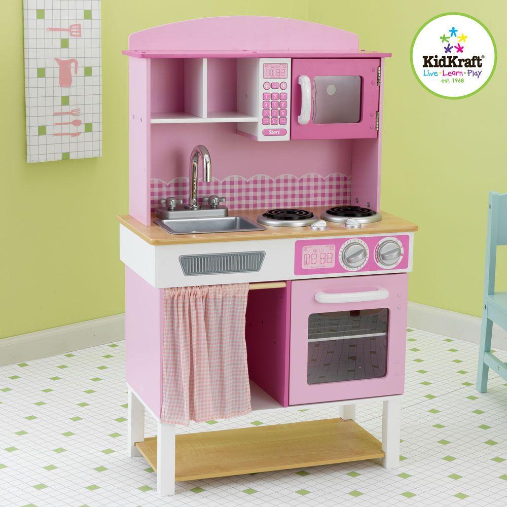 Cuisine Rose Pour Enfant En Bois 61x34x98cm Cuisine Vaisselle
