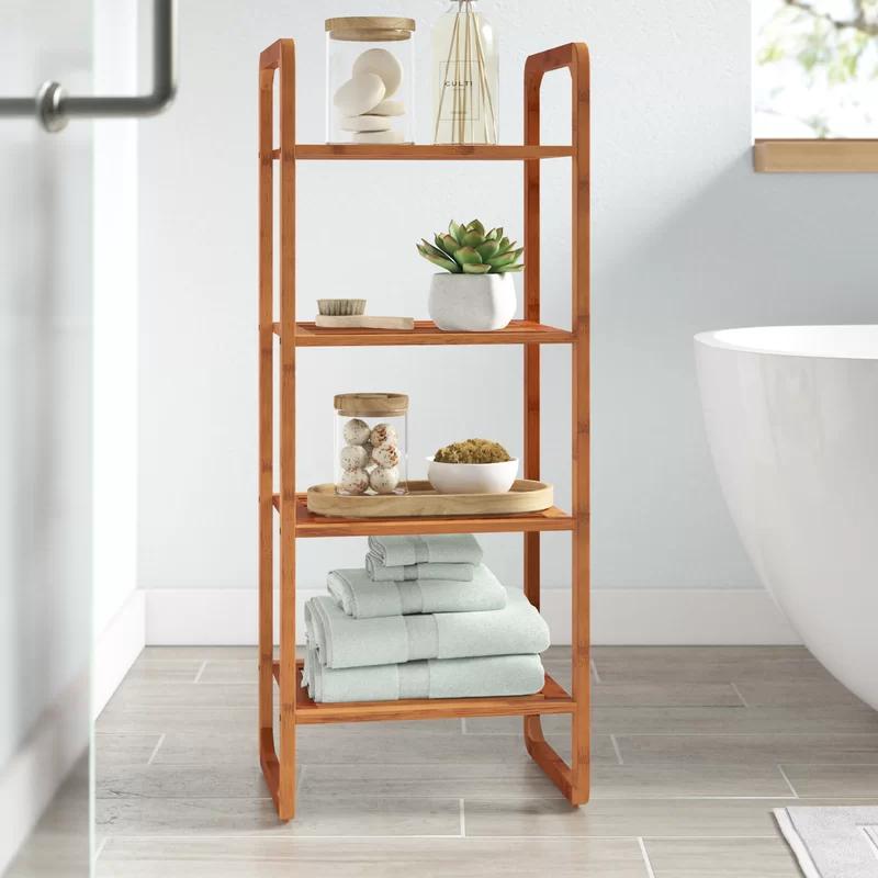Pin By Dzulhannida Muthia On Bathroom In 2021 Wooden Bathroom Shelves Shelves Bathroom Shelves
