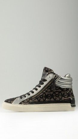 Embroidered lace black glittered sneakers