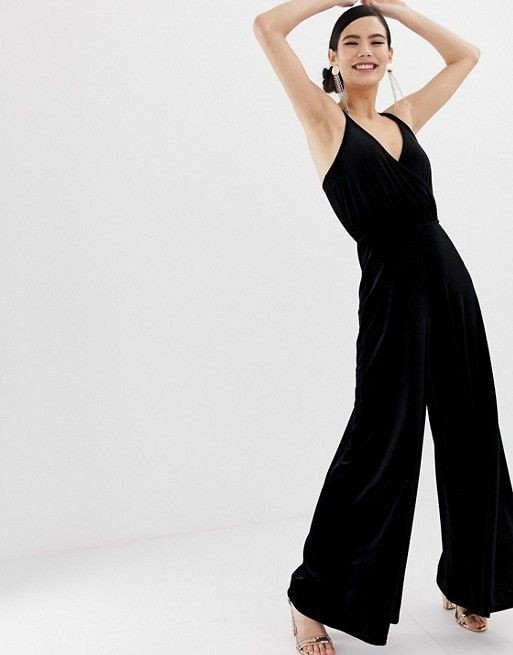 f89a6e4636a Miss Selfridge wide leg jumpsuit in black velvet in 2019