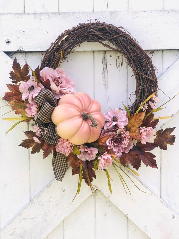 Photo of Pink fall wreath, Front Door Fall Wreath, Mauve Fall Decor, Farmhouse Wreath for Fall, Thanksgiving Wreath, Halloween Wreath, Pumpkin wreath
