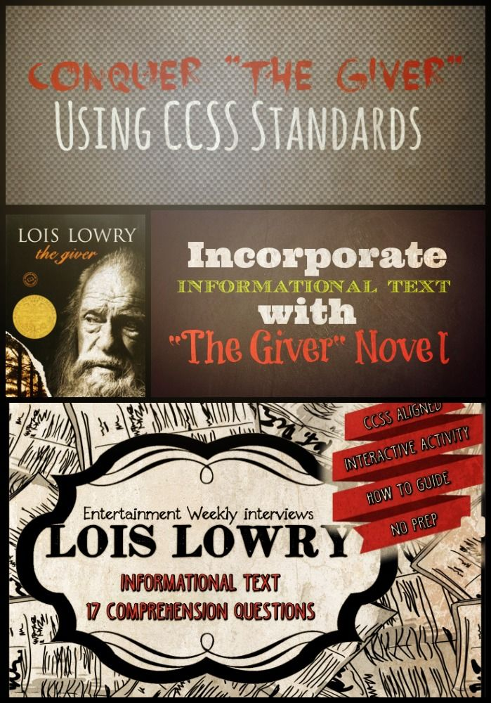 CCSS Aligned informational text to use with The Giver by Lois ...