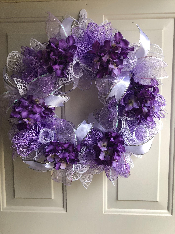 Purple Deco Mesh Hydrangea Flower Wreath, Deco Mesh Wreath, Spring Wreath, Summer Wreath, Purple Wreath, Flower Wreath, Hydrangea Wreath #decomeshwreaths