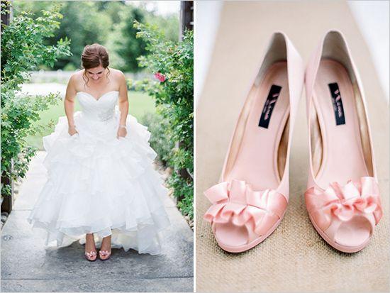 Wisconsin Bling And Burlap Garden Wedding | Pink wedding shoes ...