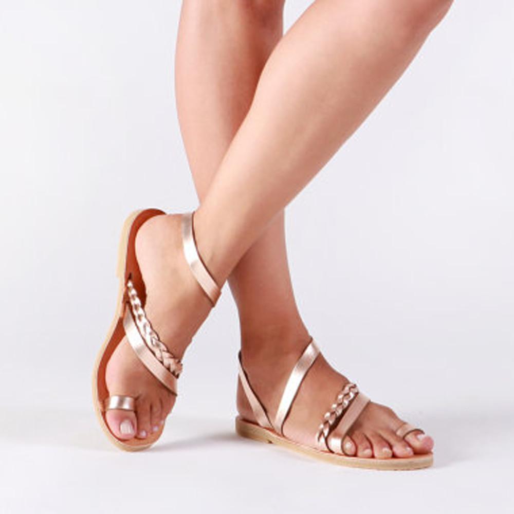 5dd68fbdd9e45 Women Summer Strappy Gladiator Low Flat Heel. Flip Flops Beach Sandals -  SOE Gadgets