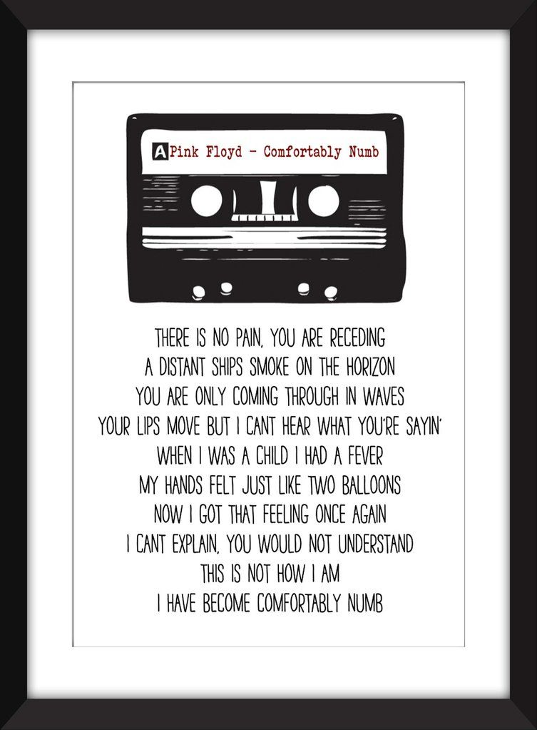 Pink Floyd - Comfortably Numb Lyrics - Unframed Print in