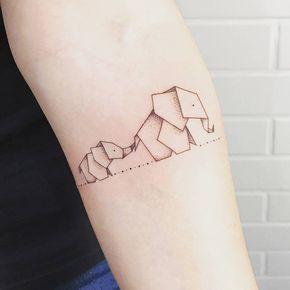 Origami elephant tattoo modern geometric design idea inspiration animal