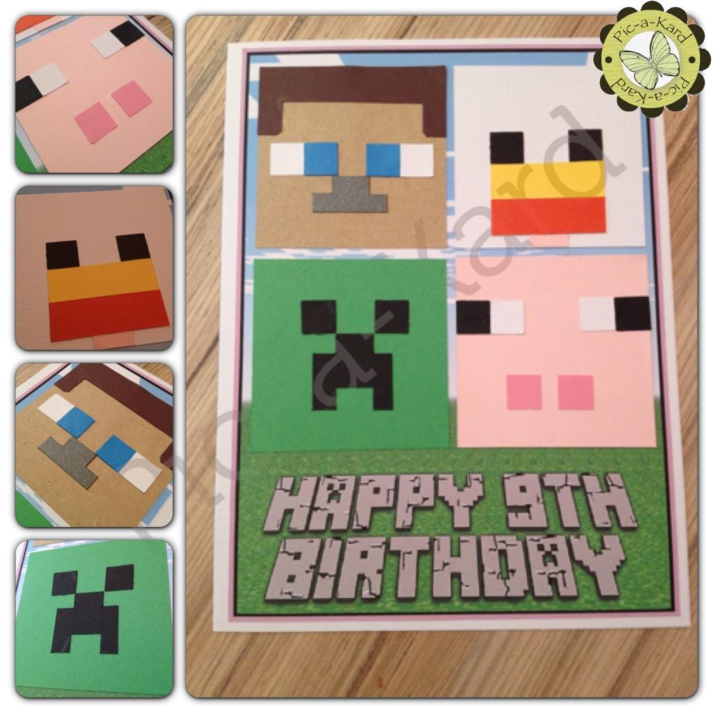 Minecraft Birthday Card The Supermums Craft Fair Minecraft Birthday Card Birthday Cards Birthday Cards Diy