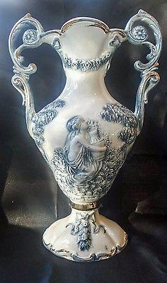 """Beautiful Antique Italian Keramos R Capodimonte Blue 37.5cm 15"""" Large Urn Vase"""