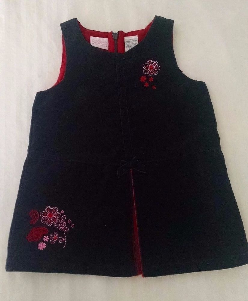 Little Legends Dress 24M Black Velvet Sleeveless Red Pink Embroidered Flowers #LittleLegends #DressyHolidayValentinesDayChristmas