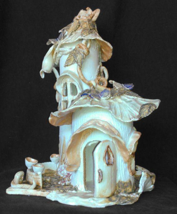 Ceramic Porcelain 2 Turret Fairy Garden House with by RJMceramics, $175.00