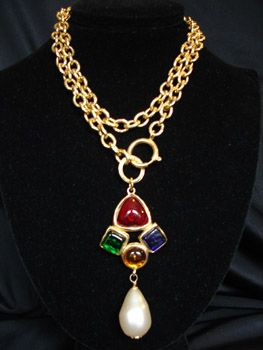 Vintage CHANEL multi-colored gripoix glass necklace with faux pearl pendant