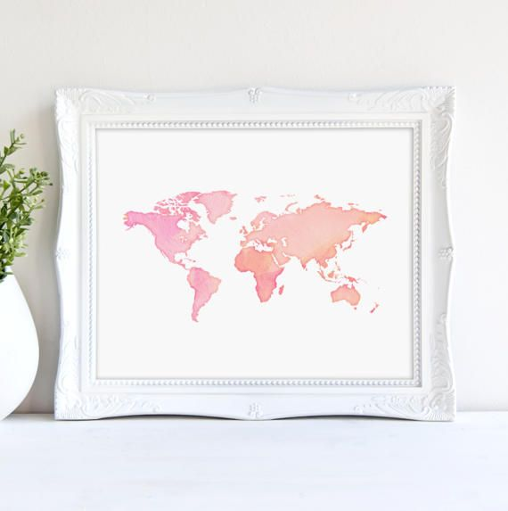 Pink world map print pink watercolor world nursery print wall art pink world map print pink watercolor world nursery print wall art printable gumiabroncs Gallery