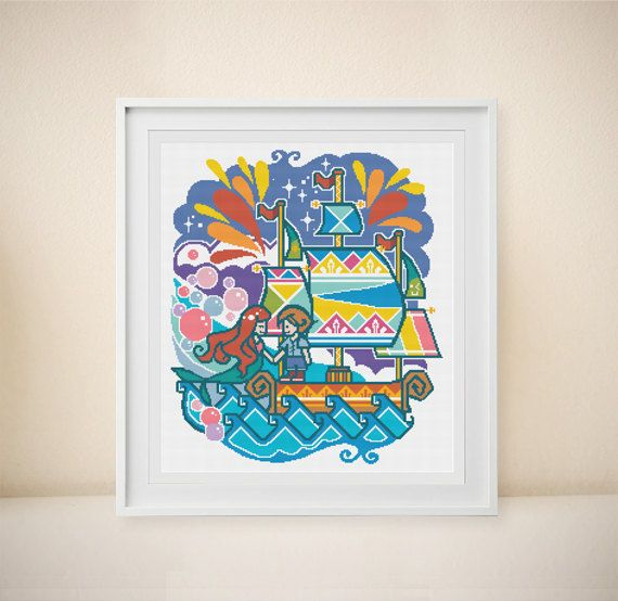 Ariel Cross Stitch Modern Cross Stitch Disney by DoNaStitch