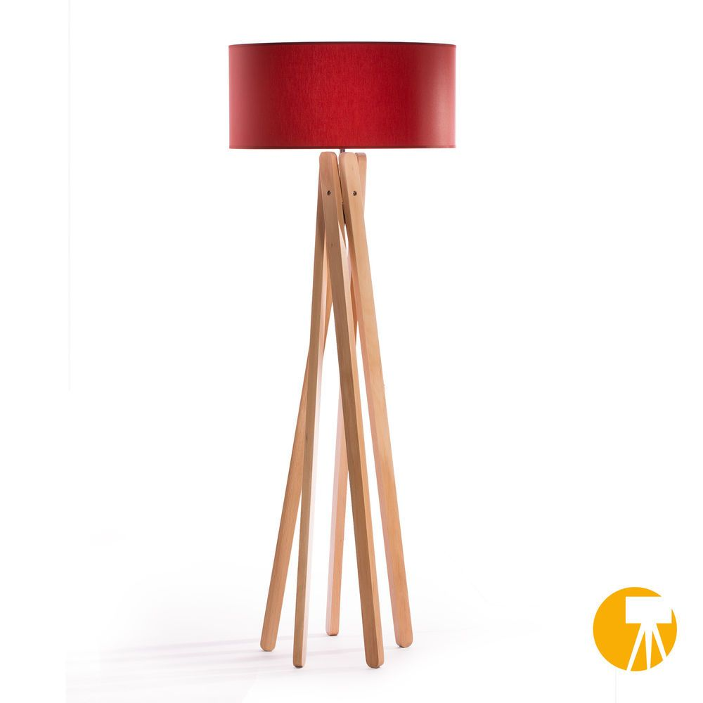 details zu design stehlampe tripod leuchte buche holz h 160cm stativ stehleuchte rot. Black Bedroom Furniture Sets. Home Design Ideas