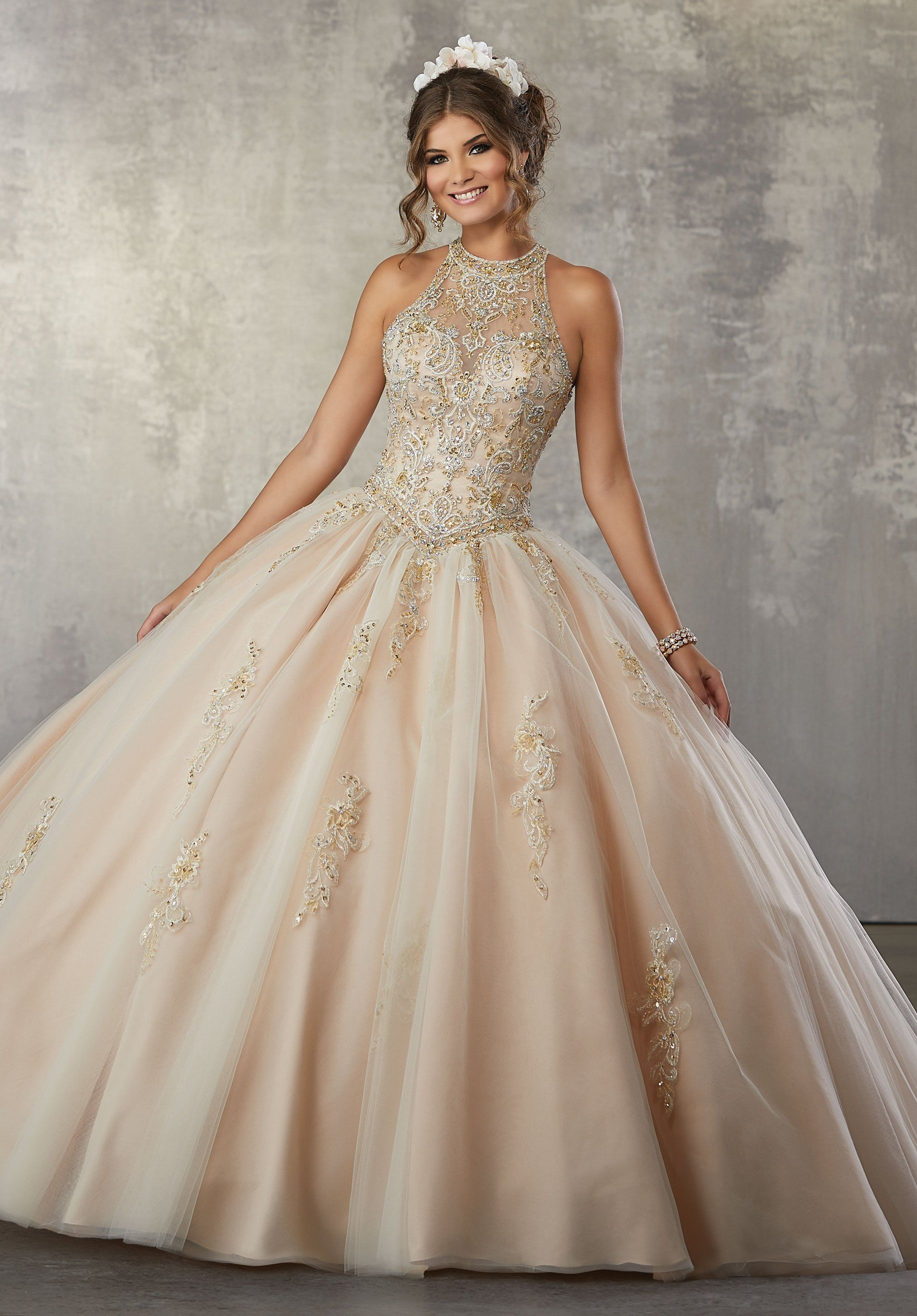 Illusion A Line Quinceanera Dress By Mori Lee Vizcaya 89178 Quinceanera Dresses Gold Pretty Quinceanera Dresses Quinceanera Dresses Pink [ 2630 x 1834 Pixel ]