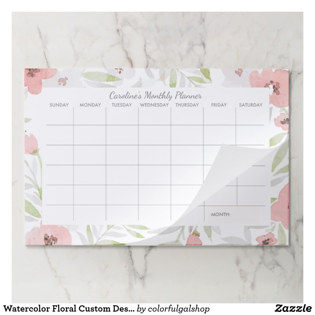 Watercolor Floral Custom Desk Pad Monthly Calendar Zazzle Com Custom Desk Floral Watercolor Floral
