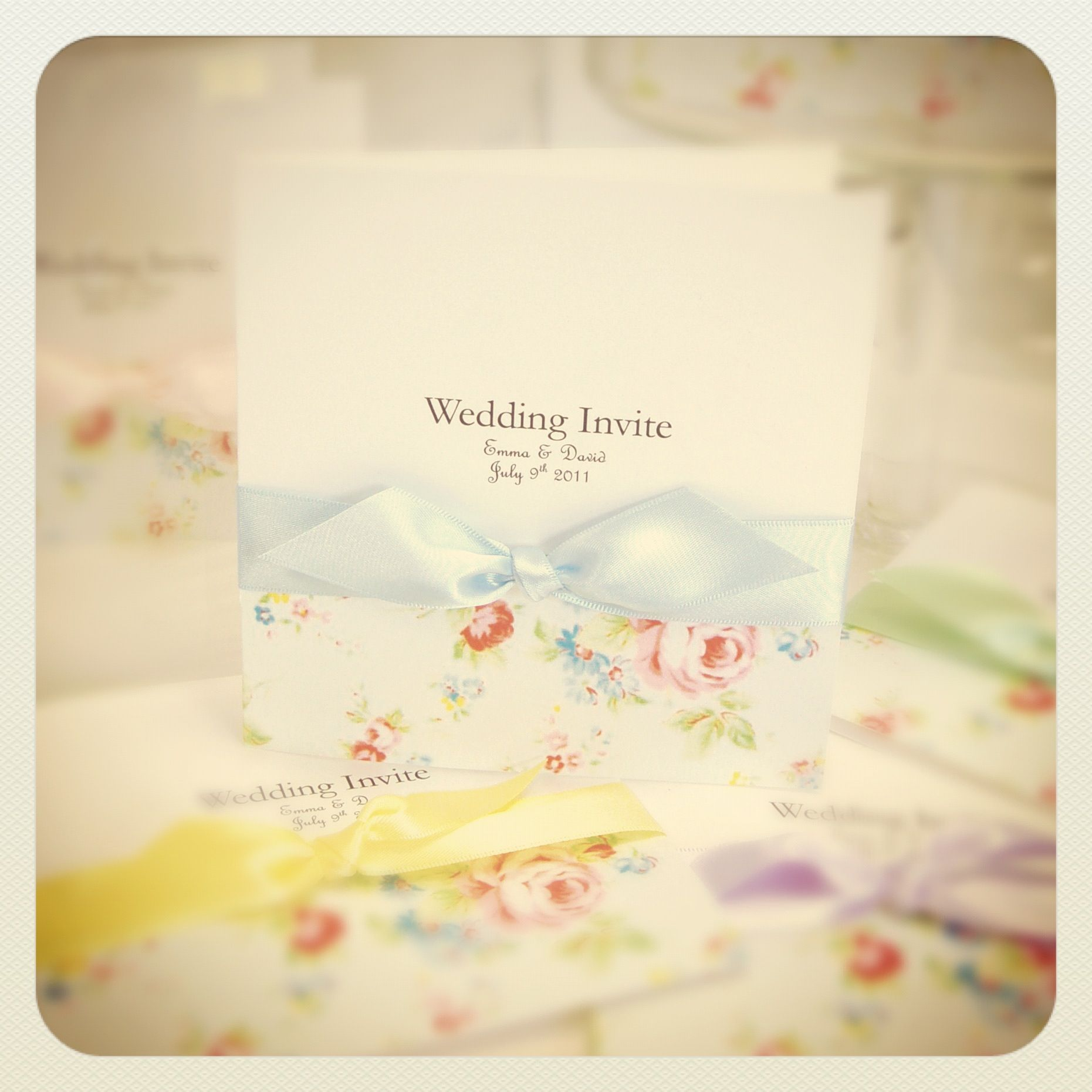 English Garden Wedding Invitations With Vintage Floral Print Shown In Oh So Fashionable Chalk Shades