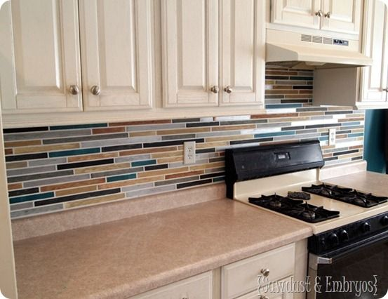 diy faux tile backsplash
