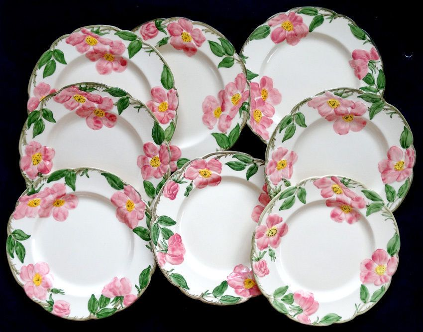 Vintage FRANCISCAN WARE China DESERT ROSE / 8 LUNCHEON PLATES ...