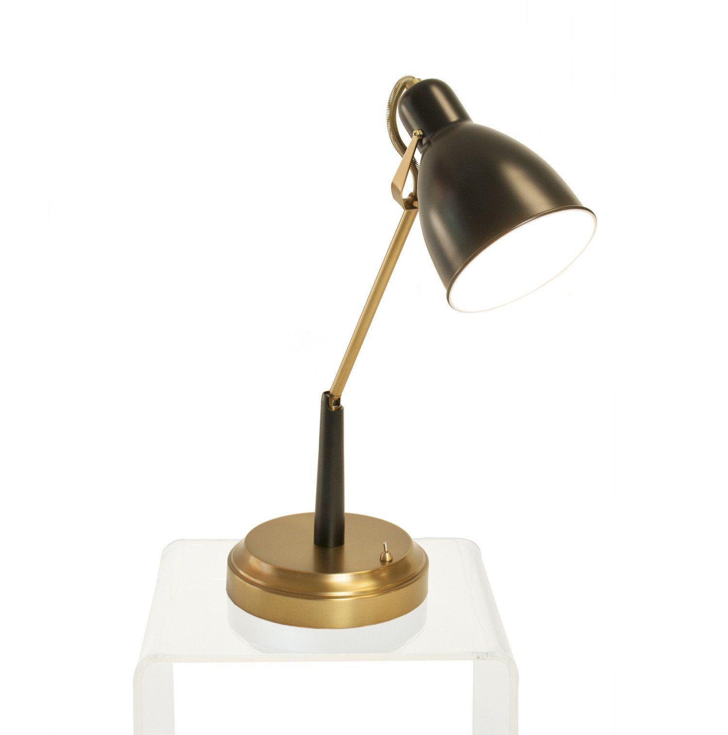 Oscar Cordless Task Lamp Black And Antique Brass Desk Lamp