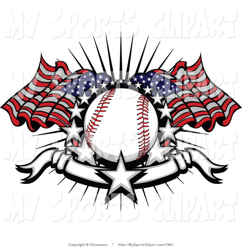 baseball art sports clip art of a baseball with american flags stars by chromaco  [ 1024 x 1044 Pixel ]