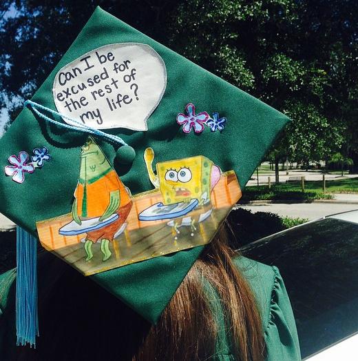 Spongebob Squarepants Inspired Grad Cap Hats Off Grad