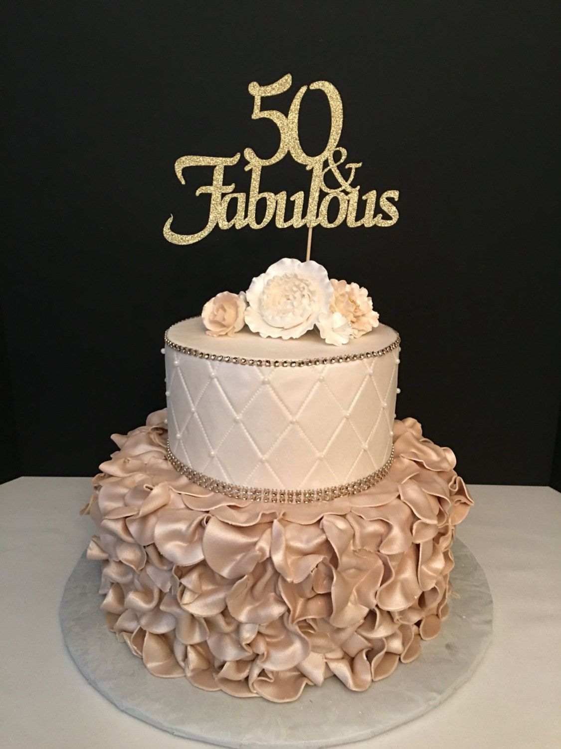Any Number Gold Glitter Th Birthday Cake Topper And Also Idea For Woman That Is Contemporary