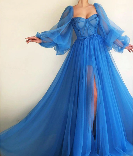 Beautiful Long Sleeve Tulle Blue Party Dress