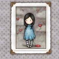 Tecido Gorjuss Menina e Coração Balão