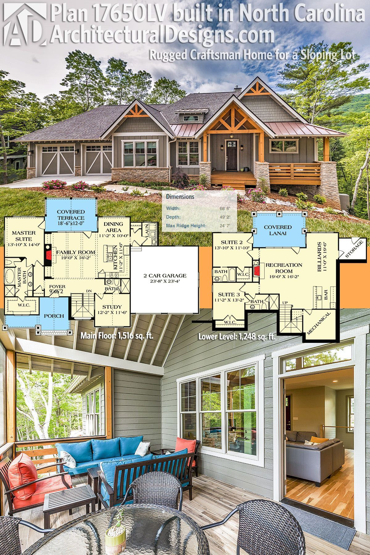 Plan 17650lv Rugged Craftsman Home For A Sloping Lot Craftsman House Plans Craftsman House Lake House Plans