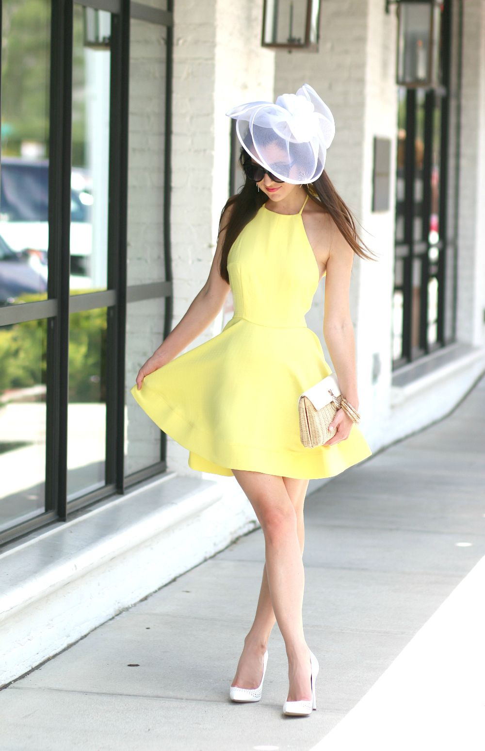 8e9ab5661b9ff Yellow Derby Dress and White Fascinator Hat | dresses | Derby dress ...
