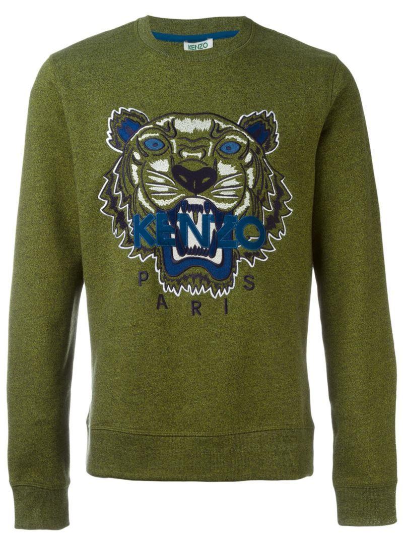 Kenzo Tiger Sweatshirt Men S Size Medium Green Cotton Kenzo Tiger Sweatshirt Tiger Sweatshirt Mens Sweatshirts [ 1067 x 800 Pixel ]