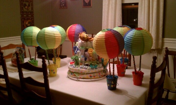 Hot air balloon centerpiece w diaper cake baby shower