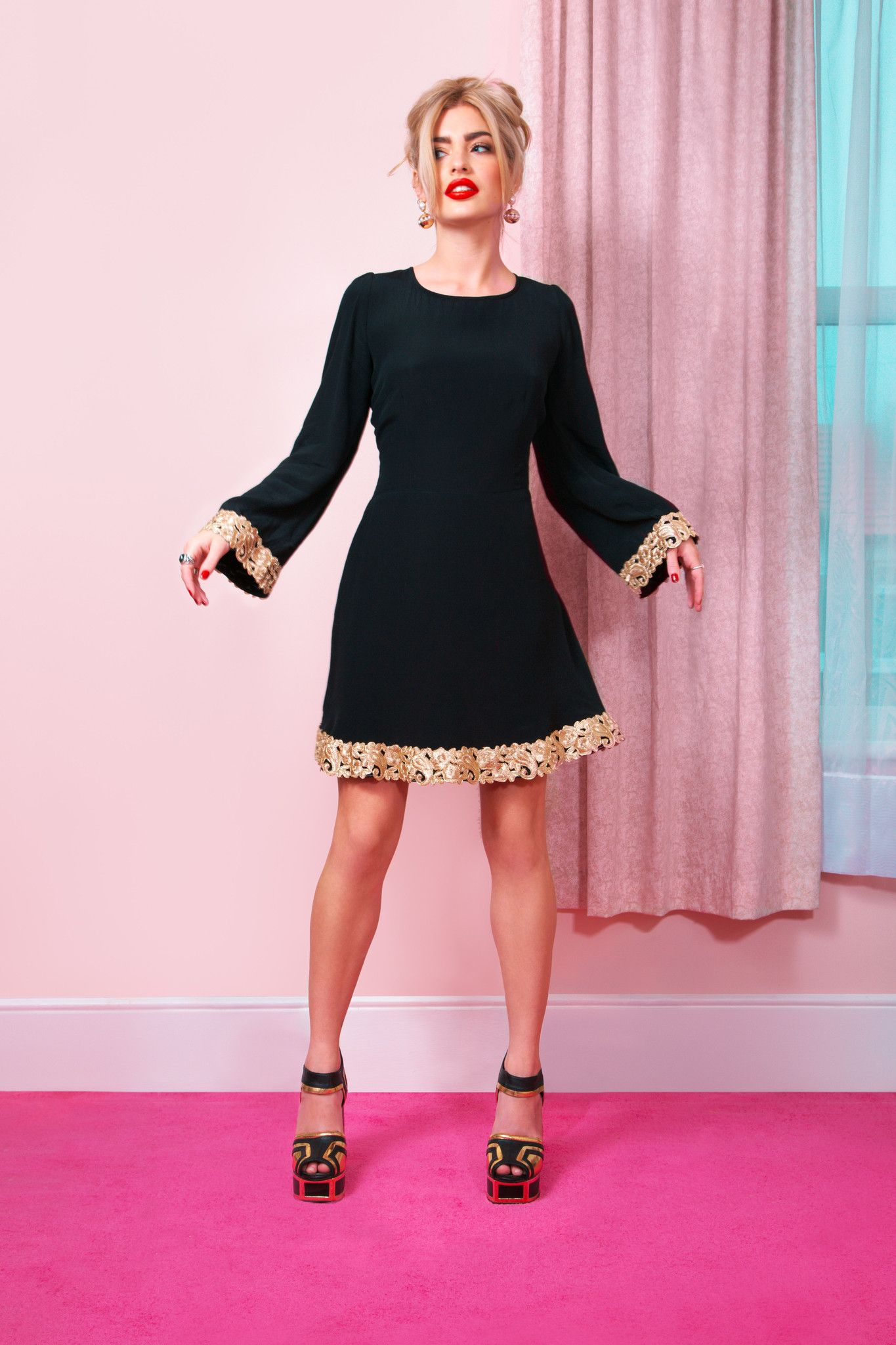 Coco Fennell dress with gold trim - idea for sewing the Martha dress ...