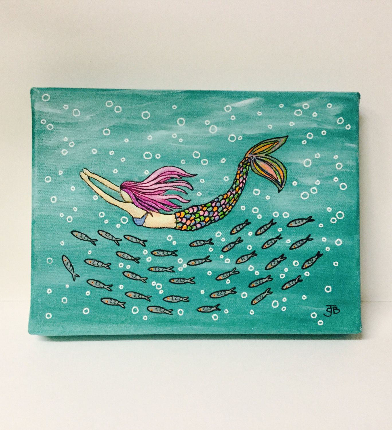 Original Hand Painted Illustrated Mermaid Swimming With Cornish Mackerel Shoal On Canvas By Spellboundbythesea Etsy