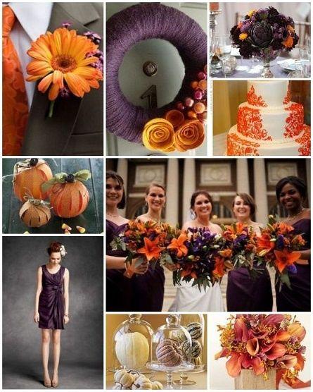 Purple Orange Wedding Ideas: Fall Wedding Color Ideas-eggplant-purple Katie-wedding